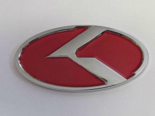 Emblem Logo KIA Warna Chrome Merah Ukuran 13x6.5cm