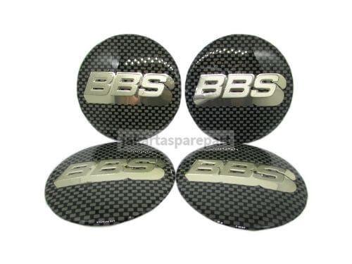 Dop Velg BBS Ukuran 65mm Warna Hitam Putih Motif Carbon Model Tempel