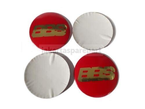Dop Velg BBS Ukuran 58mm Warna Merah Gold Model Tempel