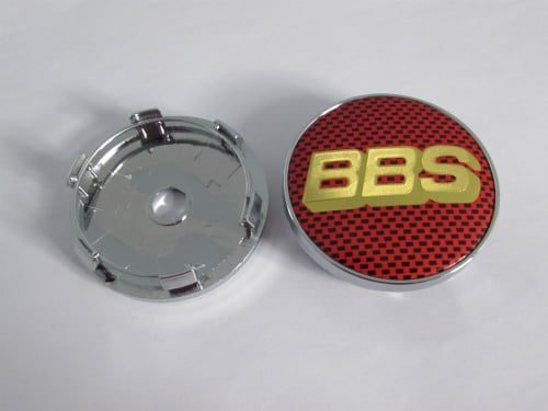 Dop Velg BBS Ukuran 60mm Warna Merah Gold Motif Carbon