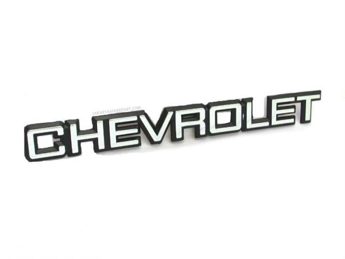 Emblem Tulisan CHEVROLET Warna Hitam Chrome