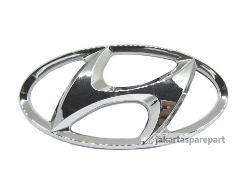 Emblem Logo Hyundai Warna Chrome Ukuran 13x6.5cm (Dilengkapi Perekat)