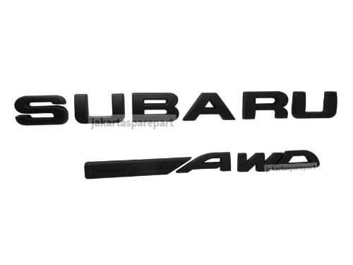 Emblem Tulisan SUBARU AWD Warna Matte Black