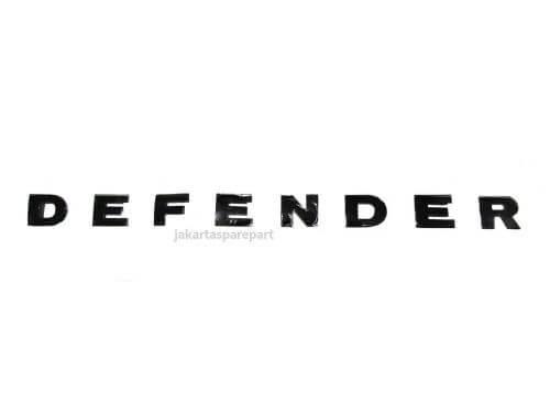 Emblem Tulisan DEFENDER Warna Glossy Black Ukuran 47.5x3cm
